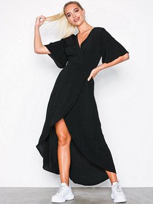 New Look Wrap Front Dip Hem Maxi Dress Black