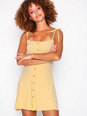 Topshop Button Ribbed Mini Skater Dress Cream