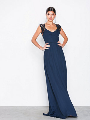 NLY Eve Scalloped Edge Open Back Gown Navy