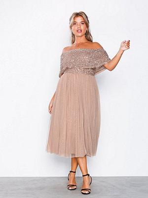 Maya Bardot Delicate Sequin Midi Dress Taupe