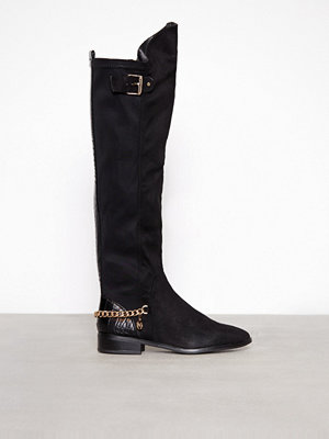 River Island Flat Knee High Chain Boot Black