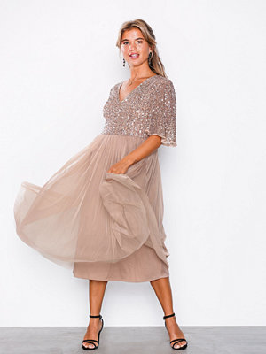 Maya V-Neck Delicate Sequin Midi Dress Mink