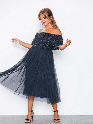 Maya Bardot Delicate Sequin Midi Dress Navy