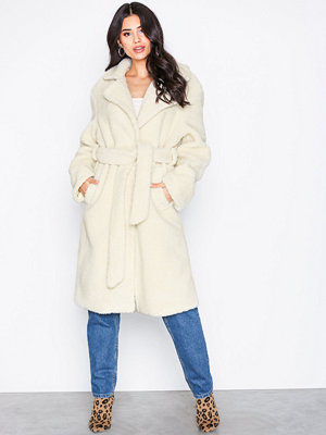NLY Trend Tie Waist Teddy Coat Offwhite