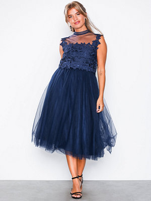 NLY Eve Crochet Tulle Midi Dress Navy