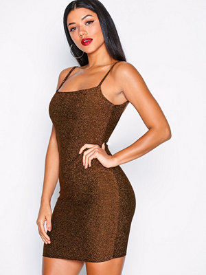 NLY One Glitter Low Back Dress Bronze