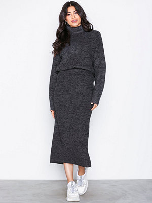 NLY Trend Long Knit Skirt Grå