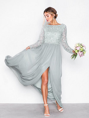NLY Eve Lace Trim LS Gown Grå