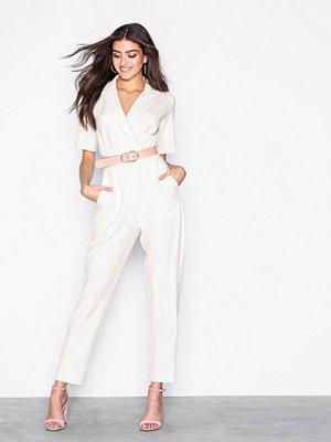 Closet Short Sleeve Collar Jumpsuit White