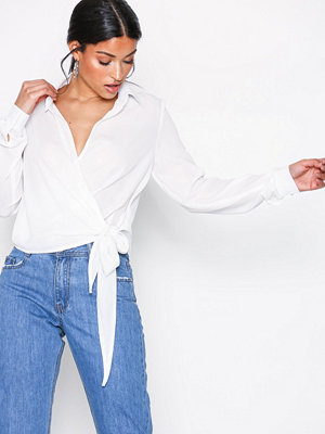Missguided Wrap Over Tie Side Blouse Ivory