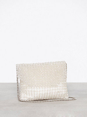 Topshop vit kuvertväska Beaded Shoulder Bag Clear