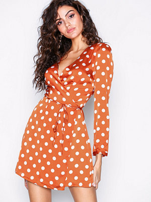 Glamorous Polka Dot LS Dress Rust