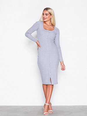 Missguided Popper Midi Dress Grey