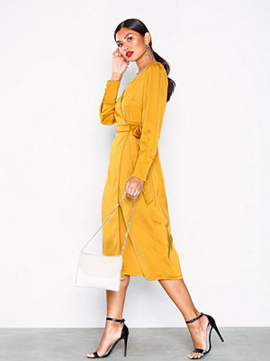 Glamorous Long Sleeve Wrap Dress Ochre