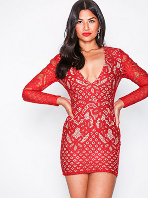 Missguided Lace Plunge Neck Mini Dress Red