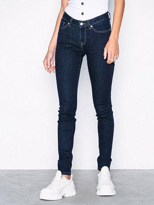 Selected Femme Slfida Mw Skinny Rinse Jeans W Noos Mörk Blå