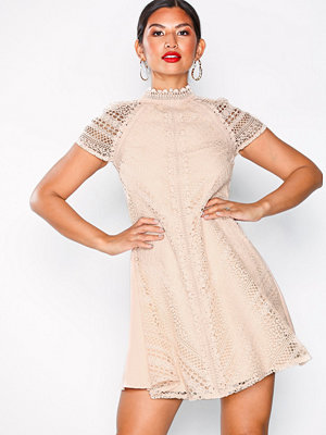 Little Mistress Lace Shift Dress Beige