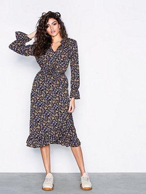 Only onlKAM L/S V-Neck Dress Wvn Svart