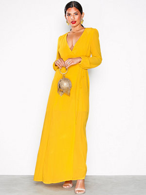 Glamorous Long Sleeve Flounce Midi Dress Yellow