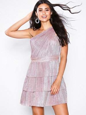 Glamorous One Shoulder Frill Dress Metallic Pink