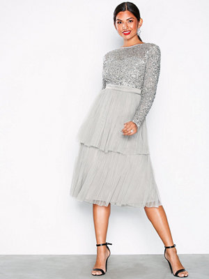 Maya Delicate Sequin Tiered Midi Dress Light Grey