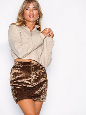 NLY Trend Coated Velvet Skirt Brun