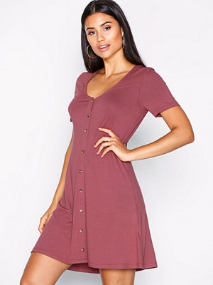 NLY Trend A lined Button Dress Burgundy