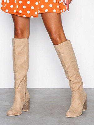 NLY Shoes Block Knee High Boot Beige