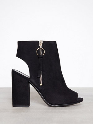 Pumps & klackskor - New Look Suedette Ring Zip Peep Toe Block Heels Black