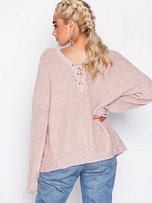 Only onlPEYTON L/S Lace Up Pullover Knt Rosa