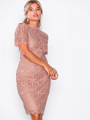 NLY Eve Kimono Lace Midi Dress Rose