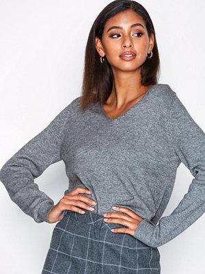 Tröjor - Only onlQUEEN V-Neck L/S Pullover Knt No Grå