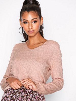 Only onlQUEEN V-Neck L/S Pullover Knt No Ljus Rosa