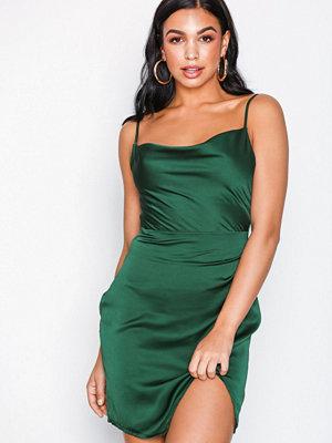 Missguided Satin Strappy Cowl Neck Mini Dress Emerald