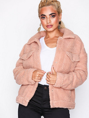 Missguided Borg Trucker Jacket Blush