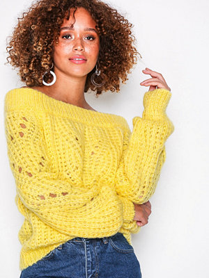 River Island Stitchy Bardot Top Yellow