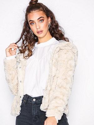 Vero Moda Vmcurl Hoody Faux Fur Short Jacket Ljus Grå