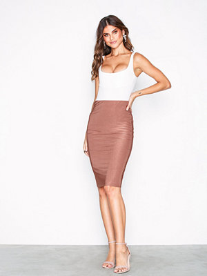 NLY One Double Layer Slinky Skirt Rust