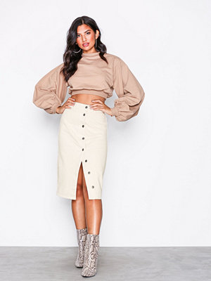 NLY Trend Midi Button Denim Skirt Offwhite