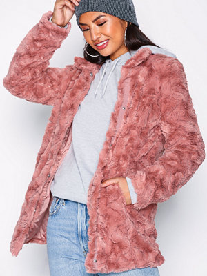 Vero Moda Vmcurl High Neck Faux Fur Jacket Co Rosa