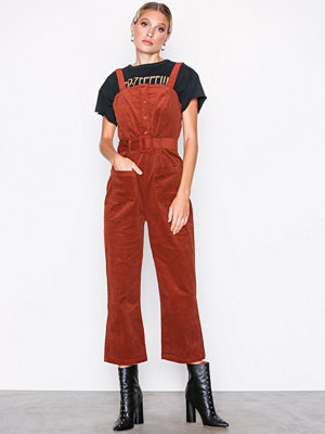 Glamorous Corded Dungaree Jumpsuit Red