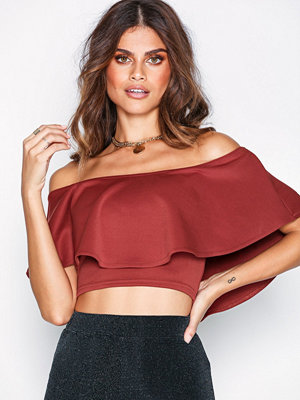 NLY One Frill Crop Top Mörk Röd
