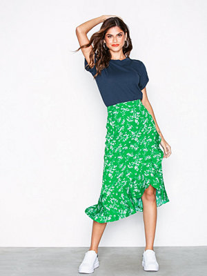 Topshop Whispy Floral Print Midi Skirt Green