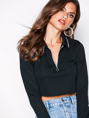 Missguided Cropped Zip Polo T-Shirt Black/White