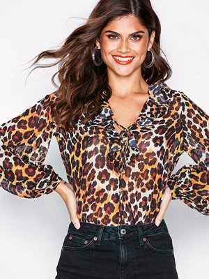 Topshop Leopard Print Ruffle Blouse Multi