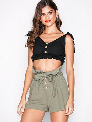 Shorts & kortbyxor - Topshop Linen Button Paperbag Shorts Kahki