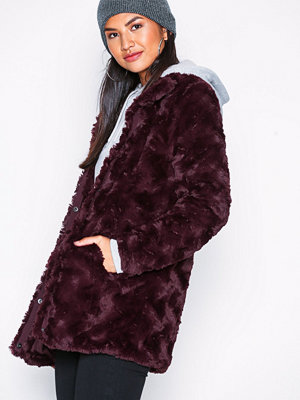 Vero Moda Vmcurl High Neck Faux Fur Jacket Co Mörk Lila