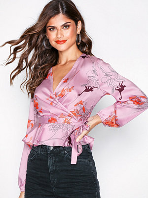 Topshop Satin Wrap Blouse Pink