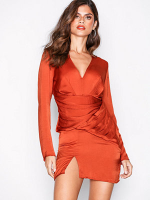 Missguided Silky Long Sleeve Panelled Dress