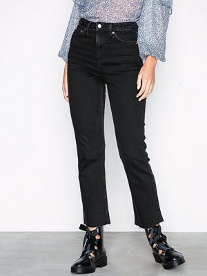 Topshop MOTO Raw Hem Straight Leg Jeans Washed Black